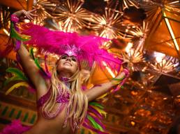 Viva Brazil Restaurants dancing girl with feather boa