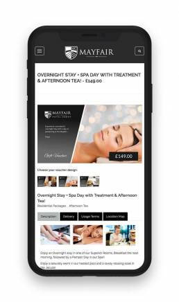 spa voucher on iPhone